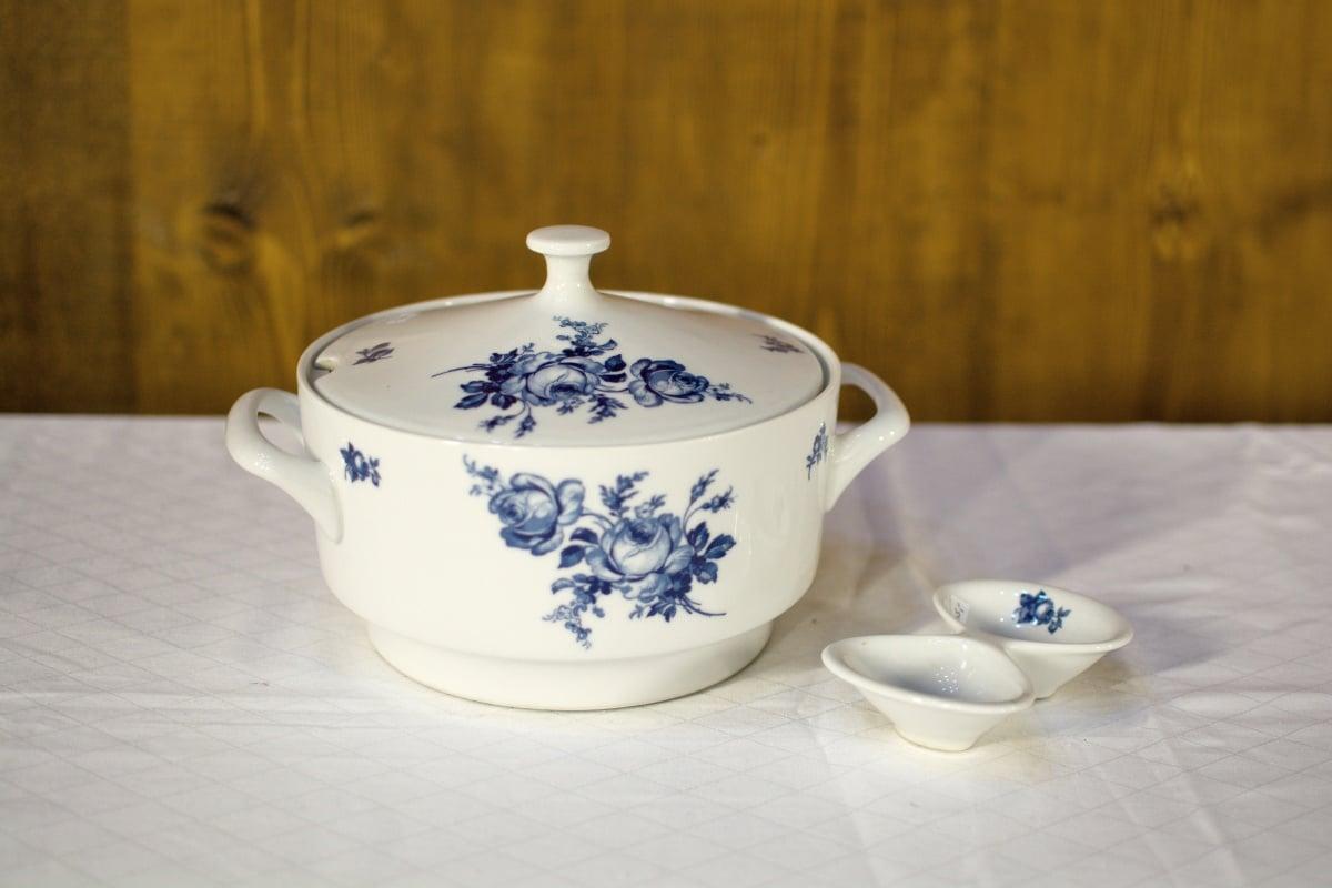 vintage tableware white blue flowers